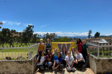 Group of student gather in Costa Rica during Spring Break study abroad program.