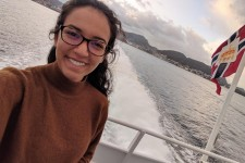 Selfie of Catherine on a boat in the Norway