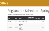 A screenshot of the registration schedule from WMU's Office of the Registrar.