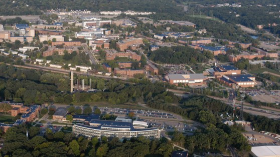Aerial view of Western Michigan University's main campus.
