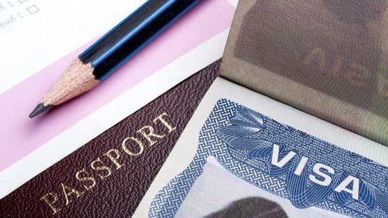 Photo of visa and passport