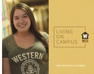 Living on Campus Guide Cover with student wearing Western t-shirt