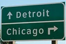 highway signs that say Detroit and Chicago
