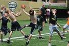 Children playing football.