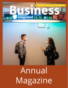 Safa and Austin are on the cover of the 2021 Business magazine.