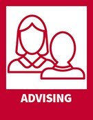 Advising - icons of two people talking to one another