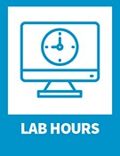 Lab hours – computer icon with clock icon on the screen