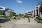 People walking around campus.