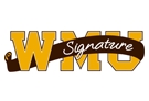 WMU letters with signature written on banner over the top of it.