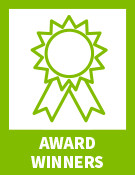 "Green ribbon with text ""award winners"""