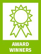 "Green ribbon with text ""award winners"""