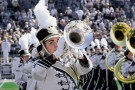 Photo of trumpeter in WMU Bronco Marching Band.