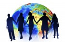 Graphic image of people holding hands in front of globe