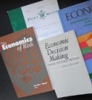 Covers of books about economics