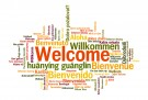 Welcome in multiple languages in word cloud