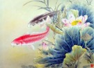 Chinese watercolor of fish swimming