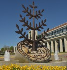 WMU campus monument with seal