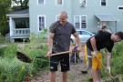 WMU student volunteers helping with neighborhood garden