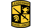 ROTC logo, crest with lamp, helmet, sword and words Leadership and Excellence